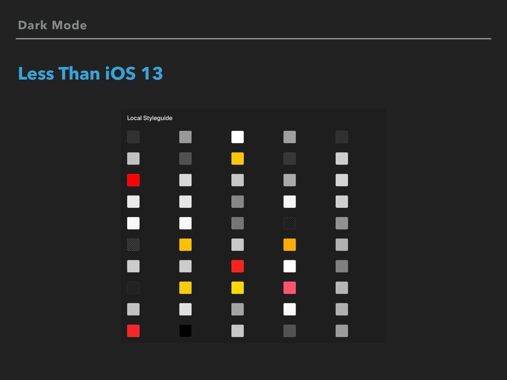 Dark Mode Less Than iOS 13
