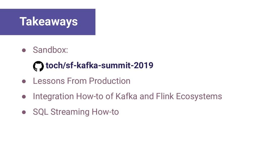 ● Sandbox: toch/sf-kafka-summit-2019 ● Lessons ...