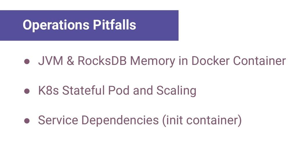 ● JVM & RocksDB Memory in Docker Container ● K8...