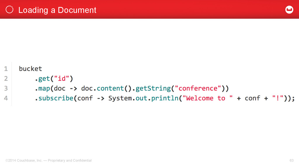 Loading a Document ©2014 Couchbase, Inc. — Prop...