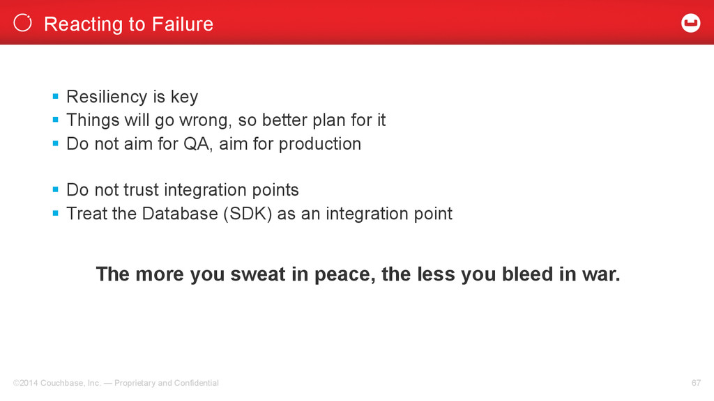 Reacting to Failure ©2014 Couchbase, Inc. — Pro...