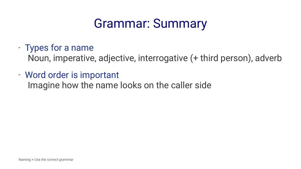 Grammar: Summary - Types for a name Noun, imper...