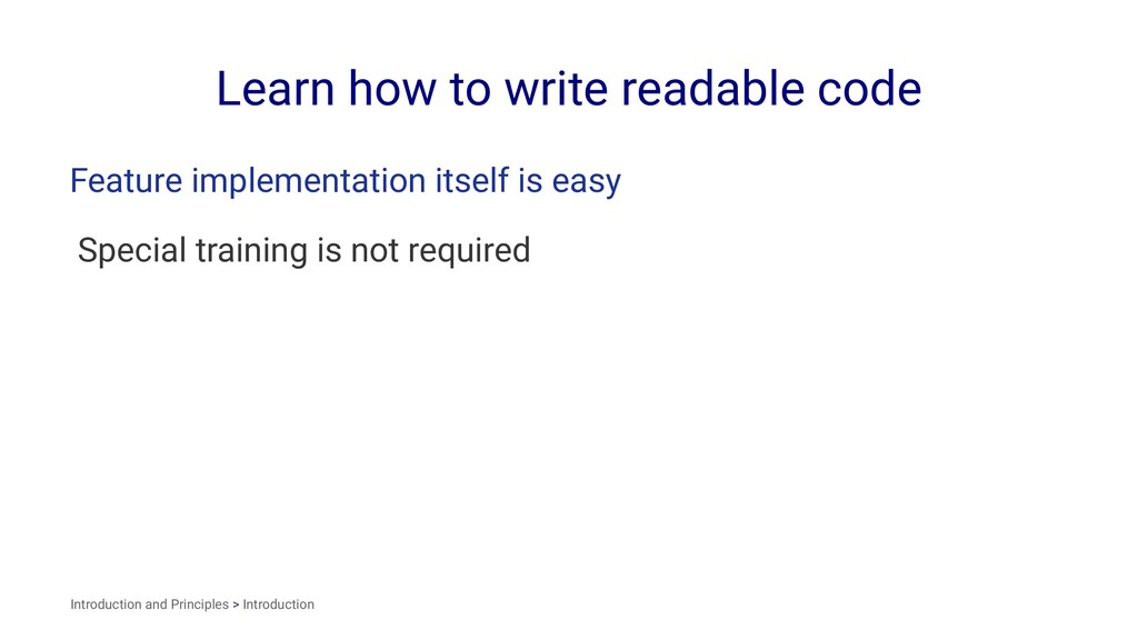 Learn how to write readable code Feature implem...