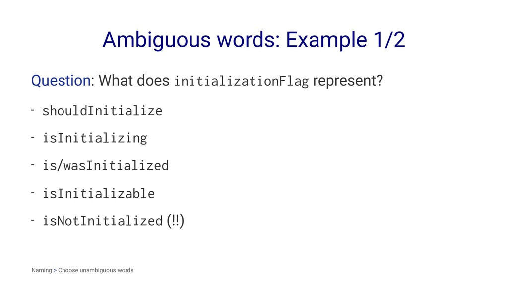 Ambiguous words: Example 1/2 Question: What doe...