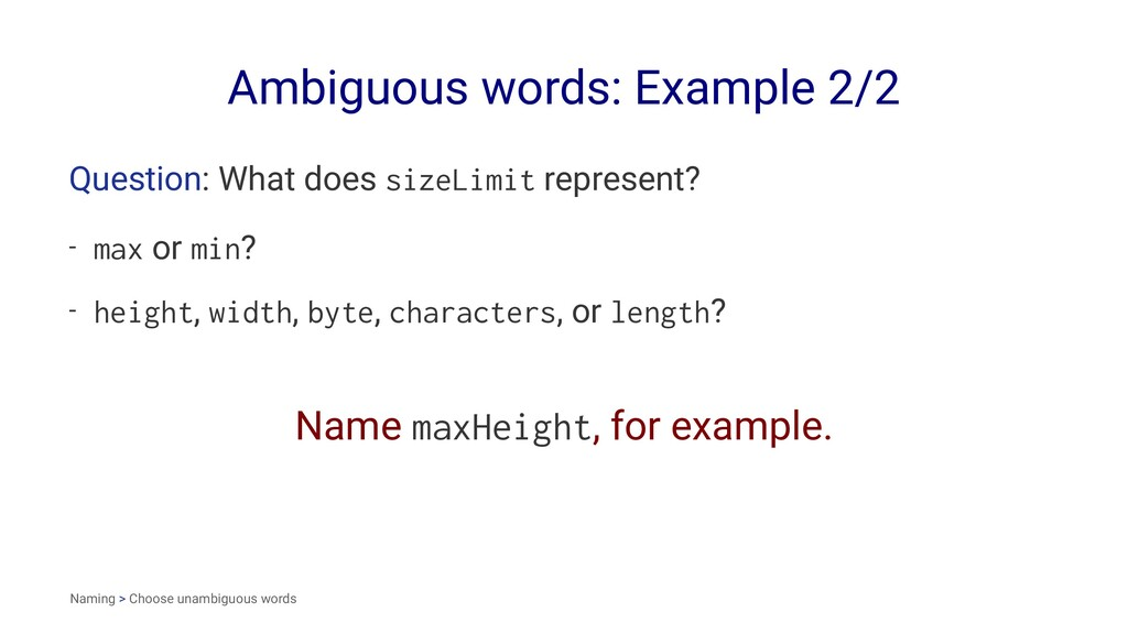 Ambiguous words: Example 2/2 Question: What doe...
