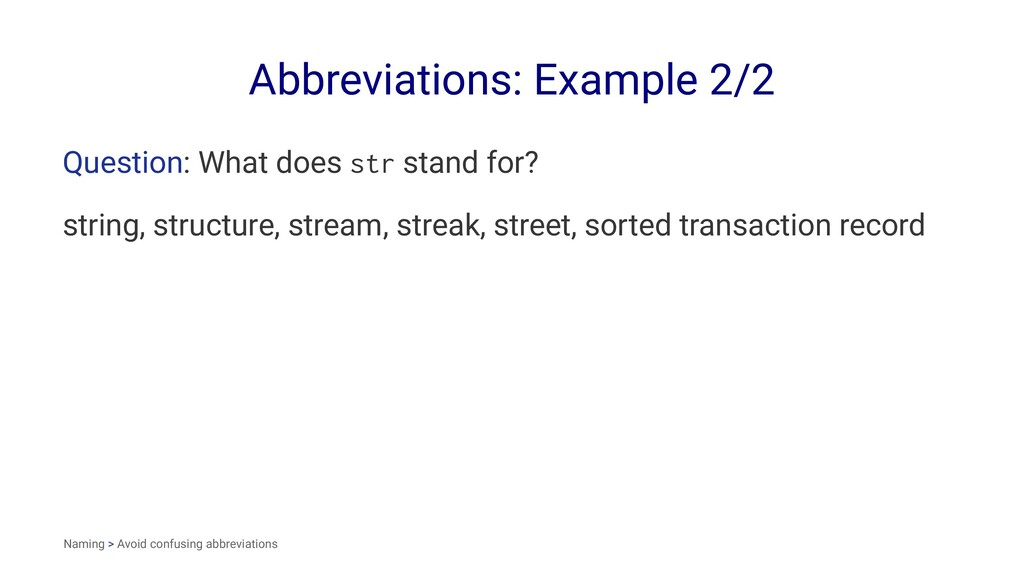 Abbreviations: Example 2/2 Question: What does ...