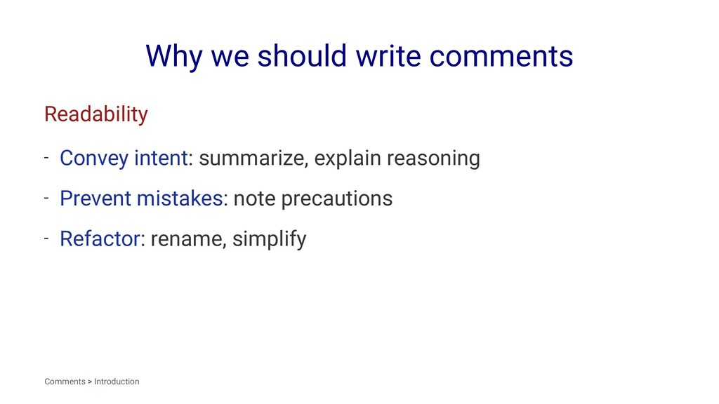 Why we should write comments Readability - Conv...