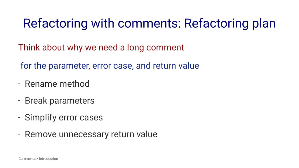 Refactoring with comments: Refactoring plan Thi...