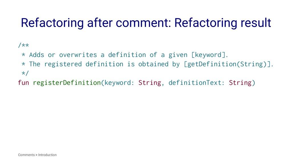 Refactoring after comment: Refactoring result /...