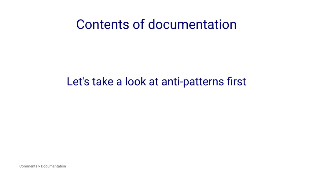 Contents of documentation Let's take a look at ...