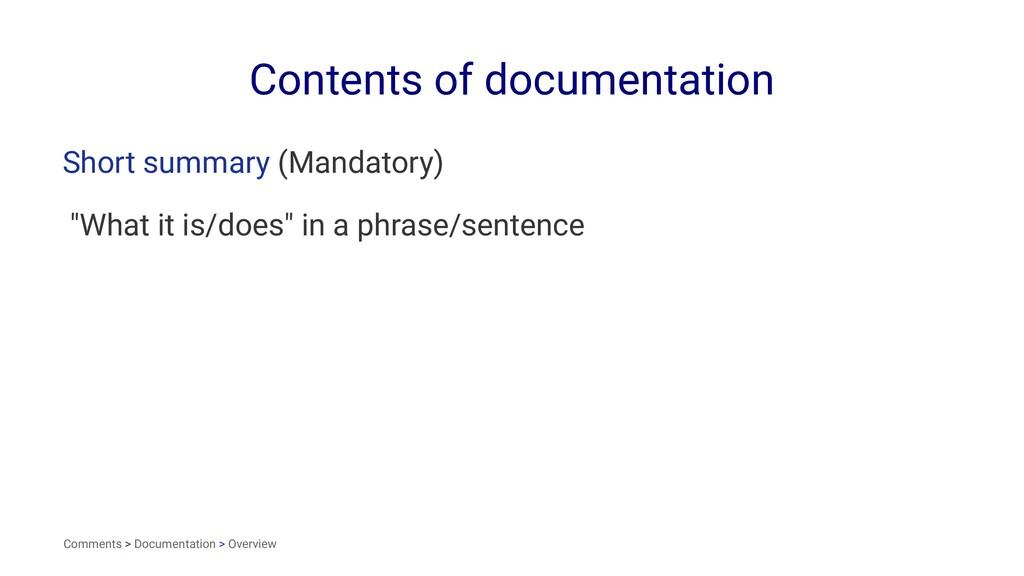 Contents of documentation Short summary (Mandat...