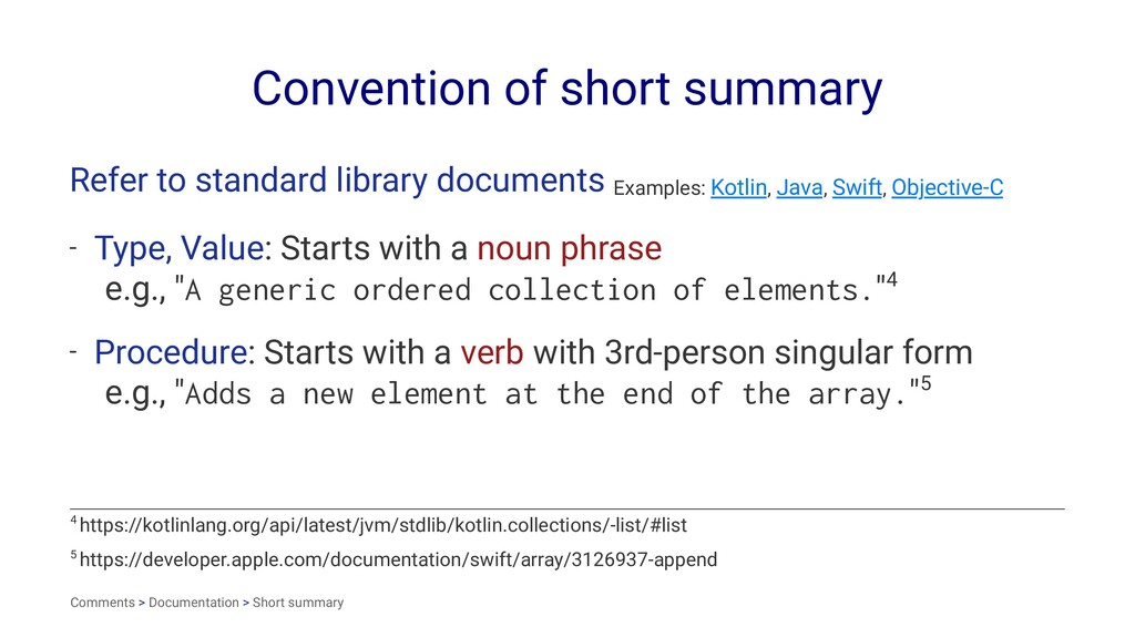 Convention of short summary Refer to standard l...