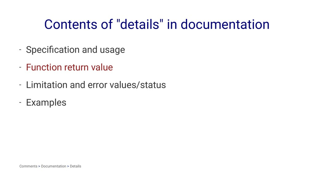 "Contents of ""details"" in documentation - Specifi..."