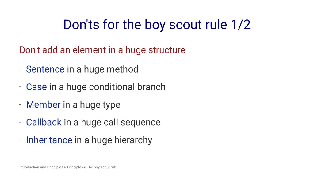 Don'ts for the boy scout rule 1/2 Don't add an ...