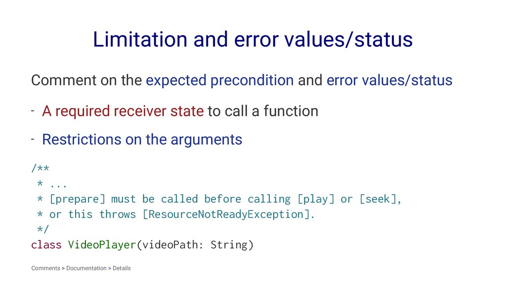 Limitation and error values/status Comment on t...