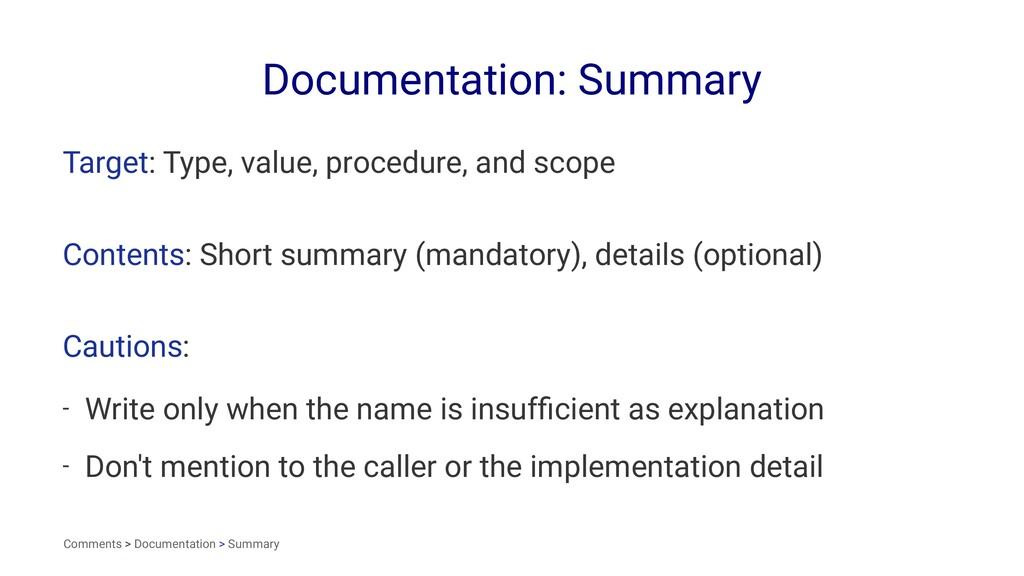 Documentation: Summary Target: Type, value, pro...