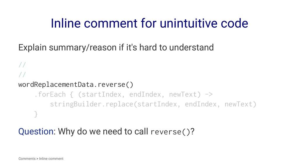 Inline comment for unintuitive code Explain sum...