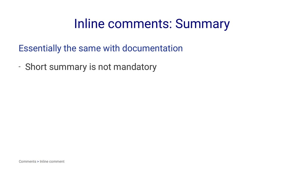 Inline comments: Summary Essentially the same w...