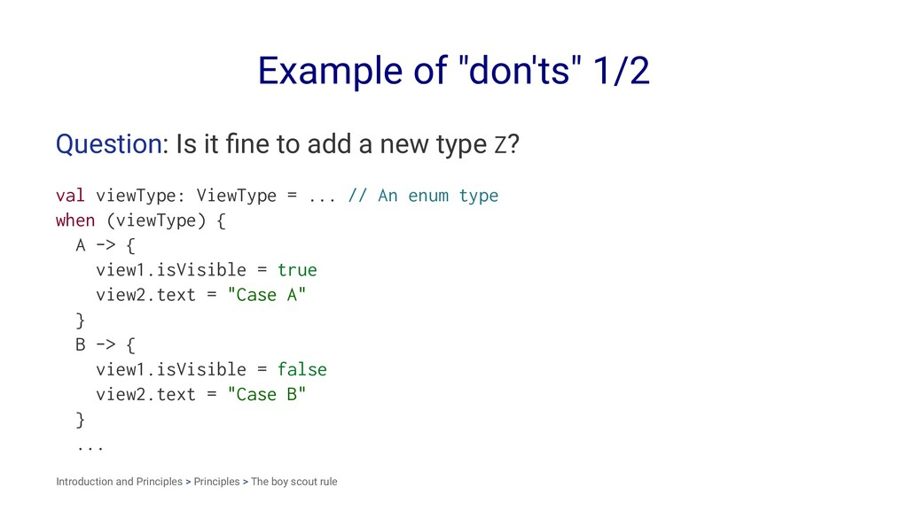 "Example of ""don'ts"" 1/2 Question: Is it fine to ..."