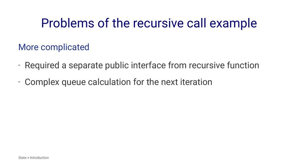 Problems of the recursive call example More com...