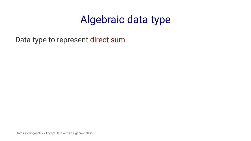 Algebraic data type Data type to represent dire...
