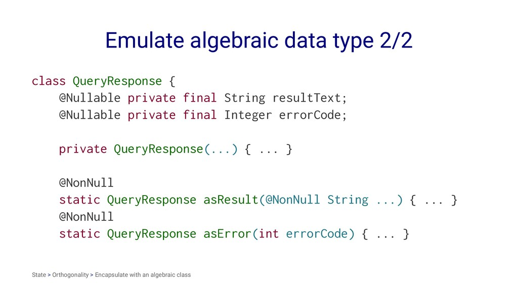 Emulate algebraic data type 2/2 class QueryResp...