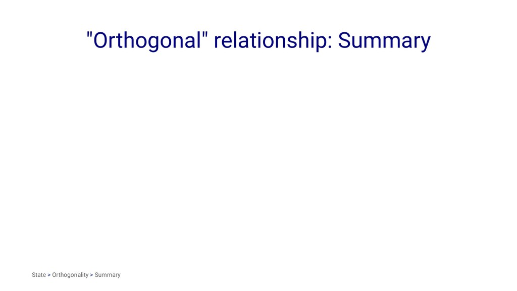"""Orthogonal"" relationship: Summary State > Orth..."