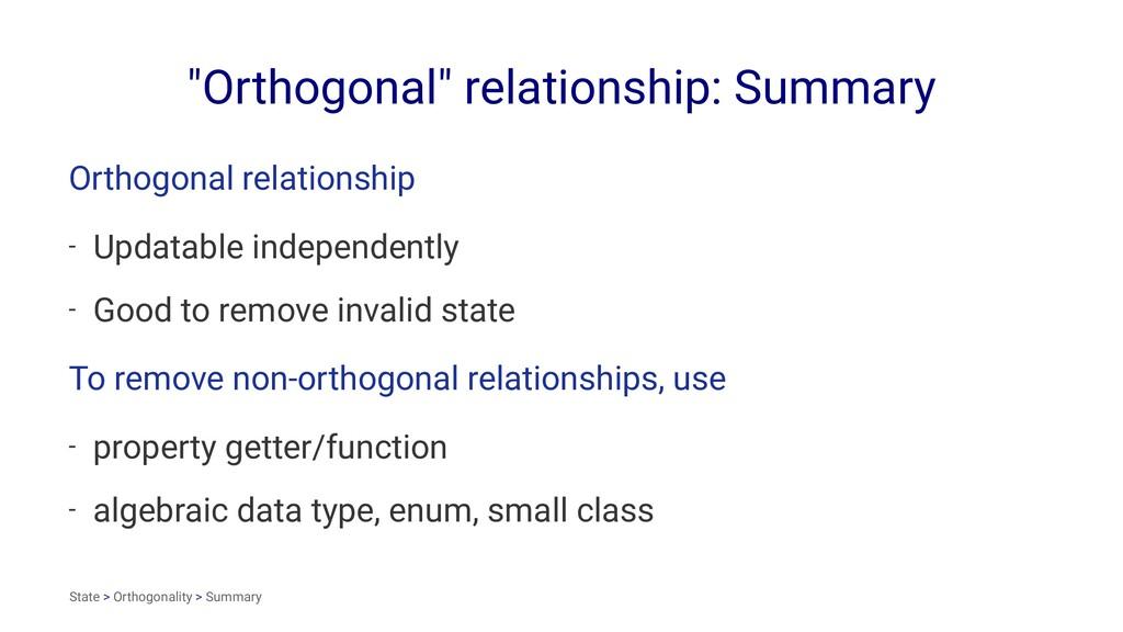 """Orthogonal"" relationship: Summary Orthogonal r..."