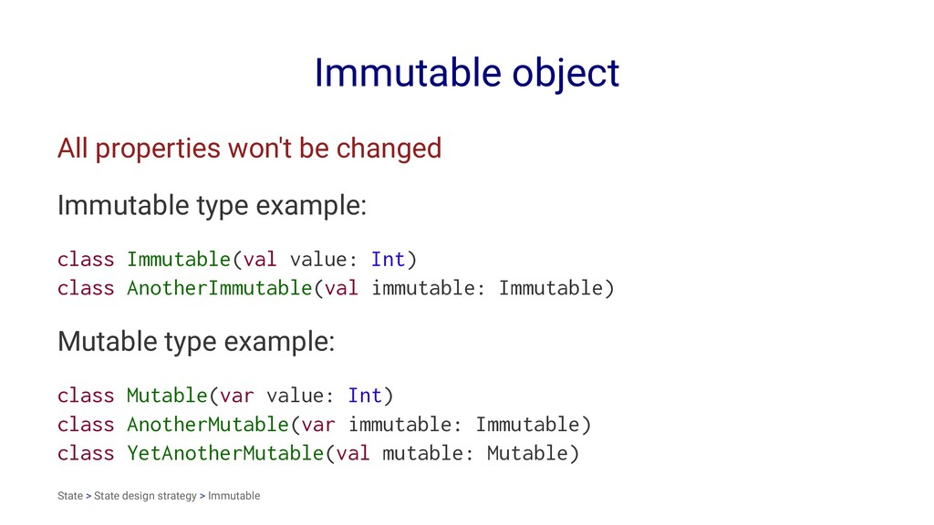 Immutable object All properties won't be change...