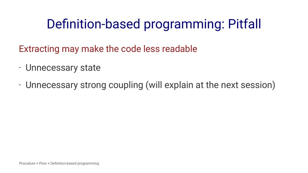 Definition-based programming: Pitfall Extracting...