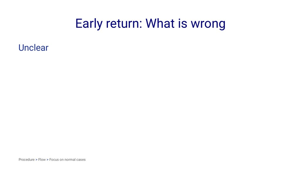 Early return: What is wrong Unclear Procedure >...