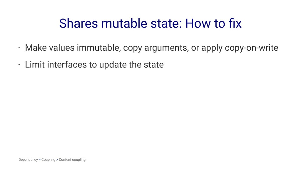 Shares mutable state: How to fix - Make values i...