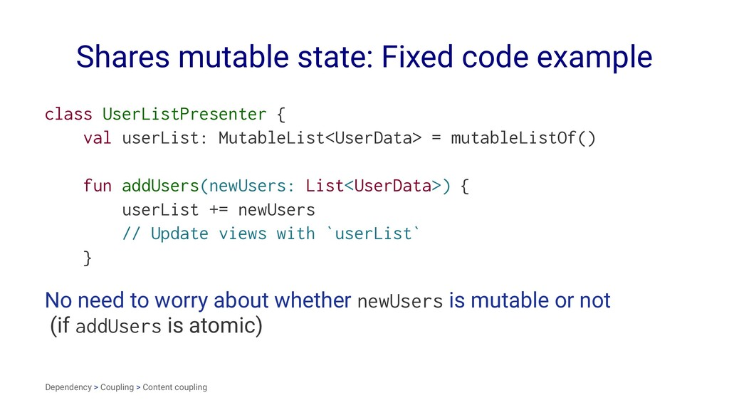 Shares mutable state: Fixed code example class ...