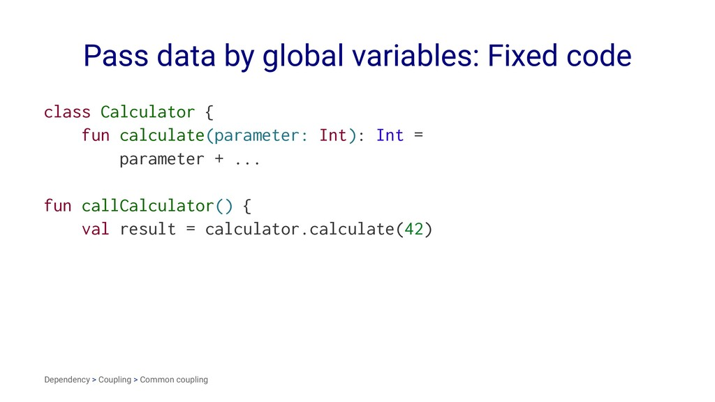 Pass data by global variables: Fixed code class...