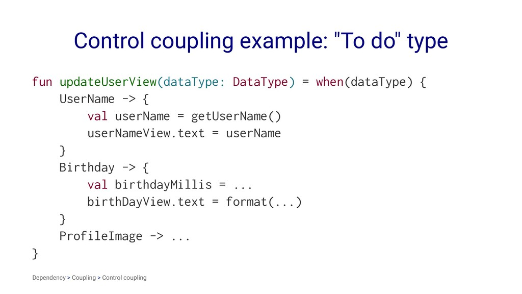 "Control coupling example: ""To do"" type fun upda..."