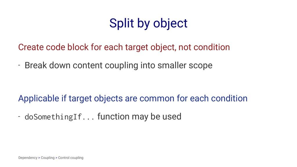 Split by object Create code block for each targ...