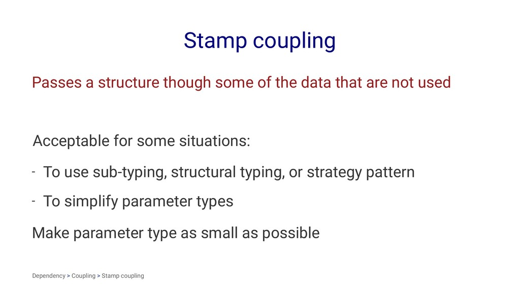 Stamp coupling Passes a structure though some o...