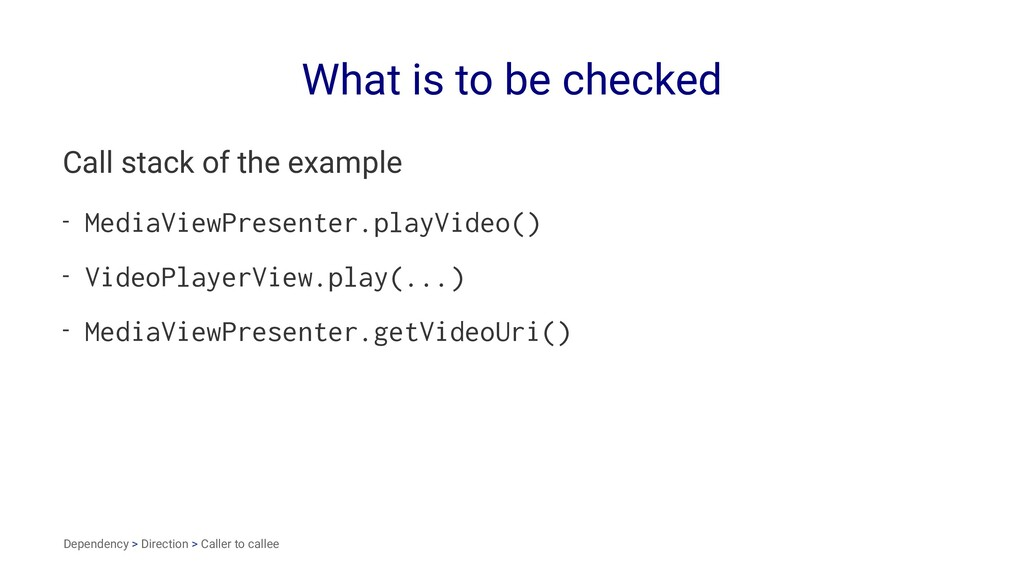 What is to be checked Call stack of the example...