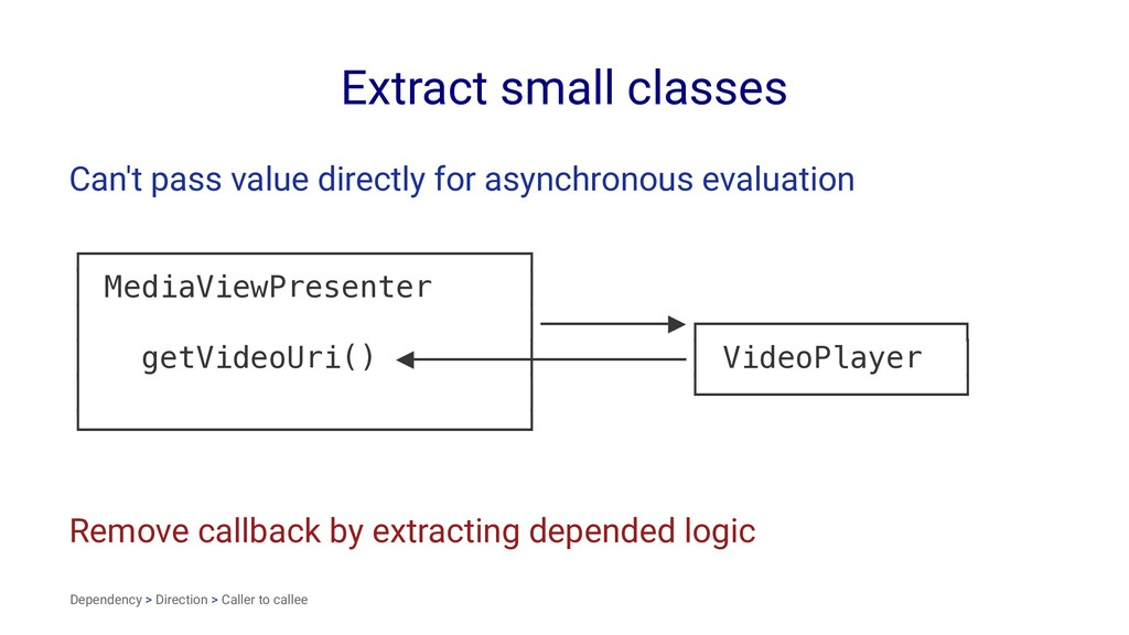 Extract small classes Can't pass value directly...