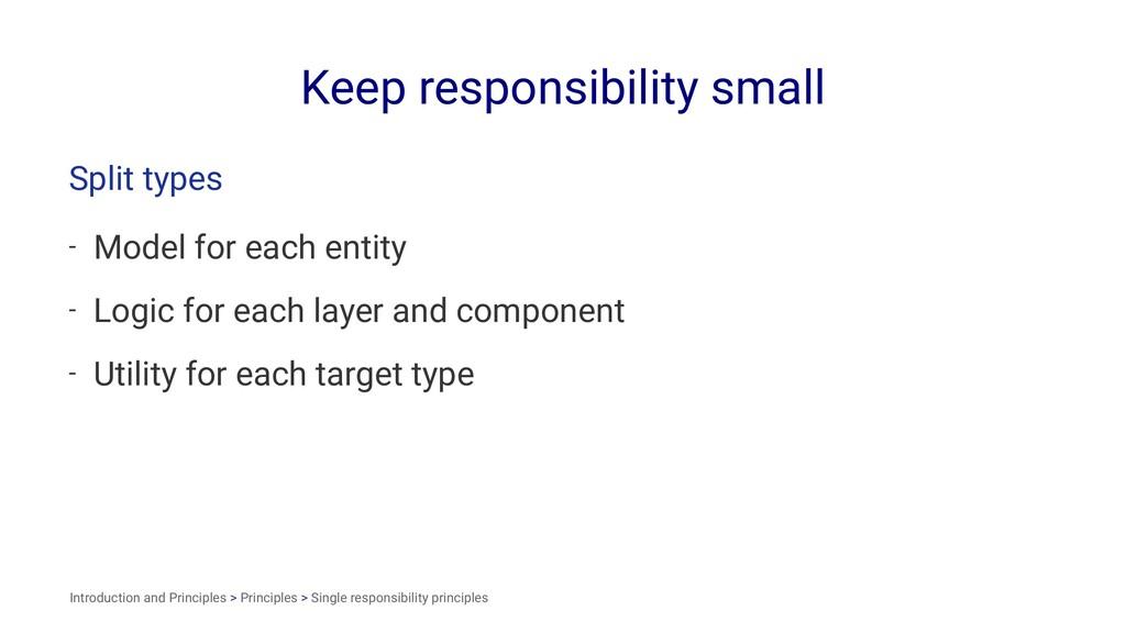 Keep responsibility small Split types - Model f...