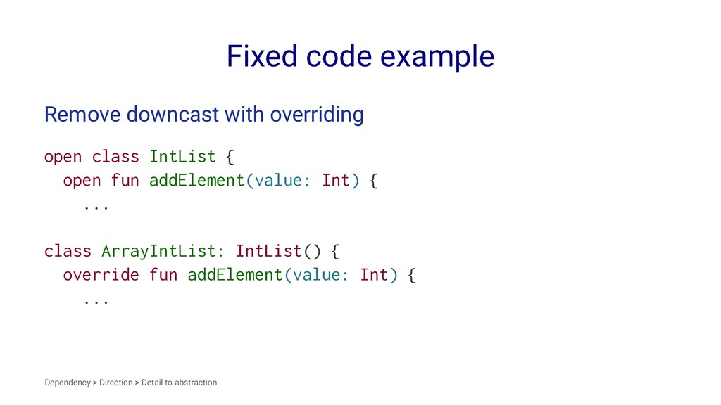 Fixed code example Remove downcast with overrid...