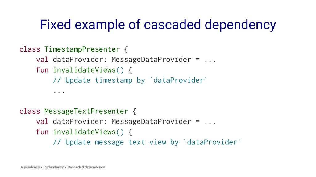 Fixed example of cascaded dependency class Time...