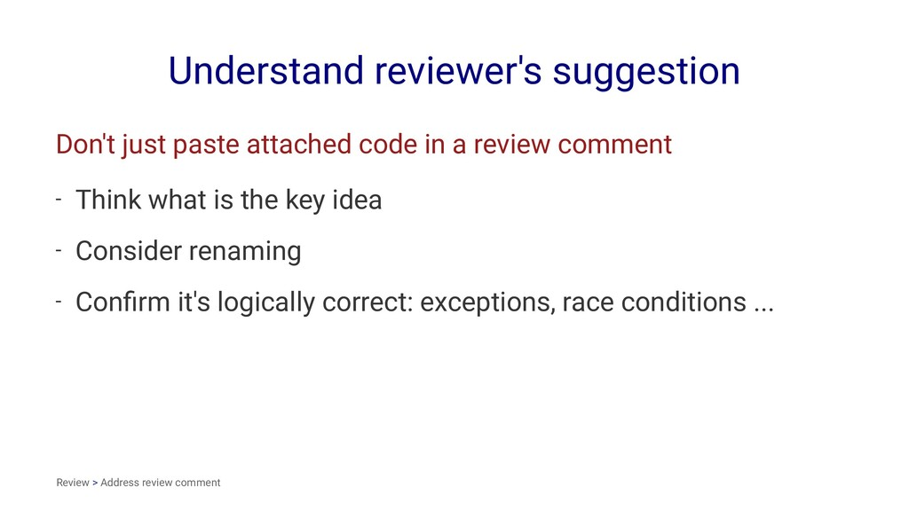 Understand reviewer's suggestion Don't just pas...