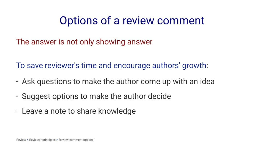 Options of a review comment The answer is not o...