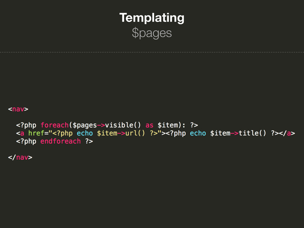 Templating $pages
