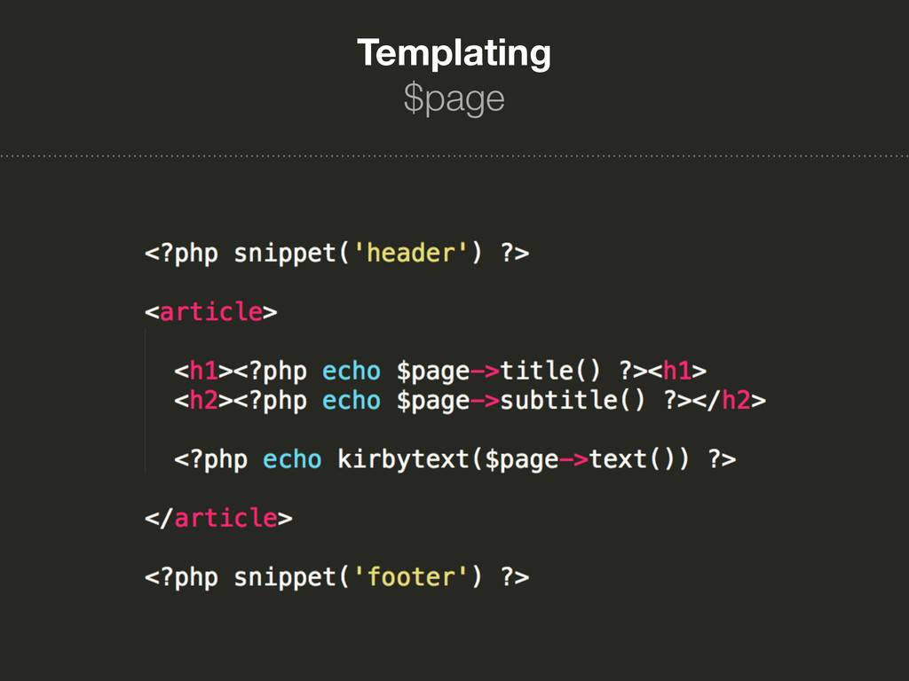 Templating $page