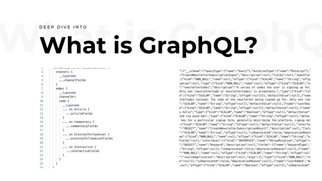 What is GraphQ What is GraphQL? D E E P D I V E...