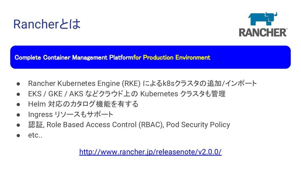 Rancherとは ● Rancher Kubernetes Engine (RKE) による...