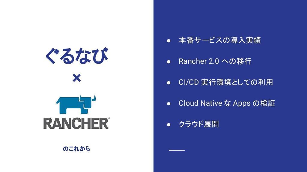 ぐるなび × ● 本番サービスの導入実績 ● Rancher 2.0 への移行 ● CI/CD...