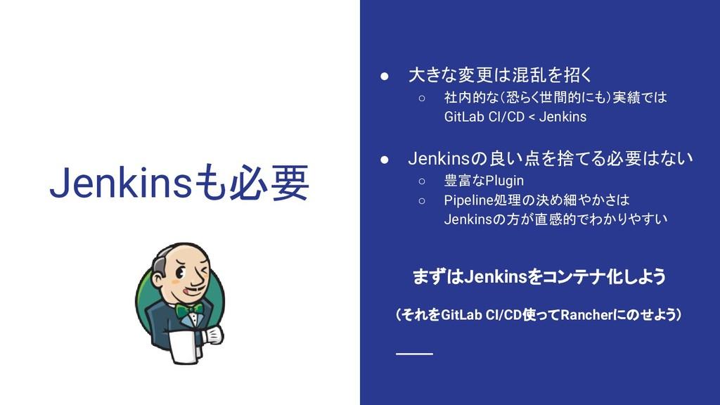 Jenkinsも必要 ● 大きな変更は混乱を招く ○ 社内的な(恐らく世間的にも)実績では G...